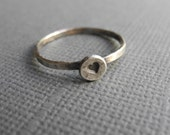 Oxidized Recycled Silver Heart Ring, Silver Heart Stacking Ring, Hand Stamped Jewelry, Eco Friendly Ring