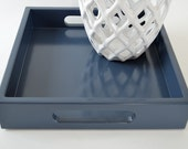 Navy Blue 12 x 12 Wood Ottoman Tray - Decorative Serving Tray - Coffee Table Decor