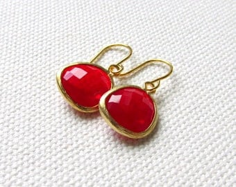 Red Drop Earrings Glossy Modern Gold Dangle Earrings Gift for Her Red Jewelry
