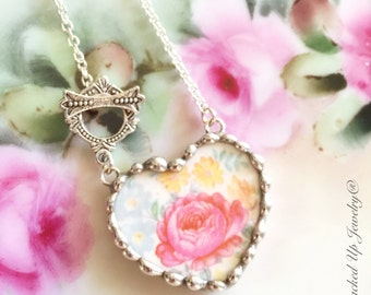 Broken China Jewelry, Broken China Necklace, Pink Rose, Floral Heart Necklace, Recycled China