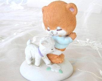 ON SALE Prayer Bear and Little Lamb Porcelain Bisque Figurine, Vintage Item, 1985, George Good Corp,