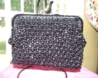 Black Straw Handbag Etsy