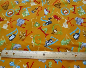 Orange Henry Glass Animal ABC Cotton Fabric by the Yard