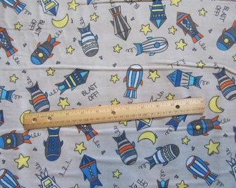 Gray with Multicolor Rockets/Space Blast Offl Flannel Fabric by the Yard