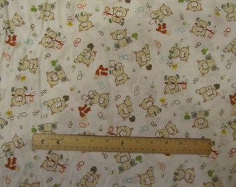 White with Woodland Animal/Fox/Bear/Owl Fabric by the Yard