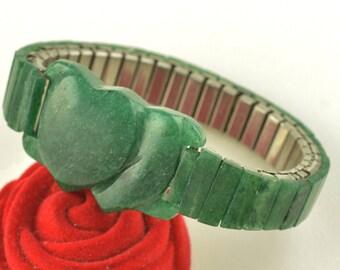 Vintage Jadeite Double Heart Carved Expansion Sweetheart Bracelet ~ Lot 517