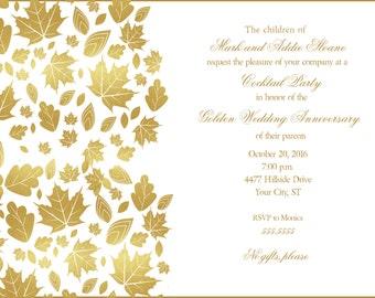 Golden Leaves 50th Wedding Anniversary Invitation