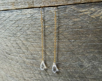 Crystal Drop Earrings Swarovski Long Bridal Earrings Briolette Dangle on Silver or Gold French Wire Hook