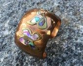 Vintage 60s COPPER Brass Abalone Shell Inlay Butterfly Cuff Bracelet Signed NARMS Hecho Mexico Jewelry Handcrafted Hippie Boho Tribal