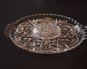Hand Cut Crystal Relish Tray