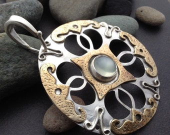 White moonstone pendant with large round sterling and bronze setting, slightly imperfect handmade, one of a kind,