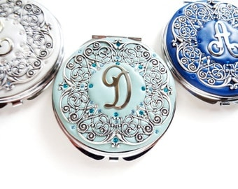 Set of 8 Personalized Bridesmaids Gift-Personalized Compact Mirror-Custom Color Compact Mirror- Swarovski Crystals