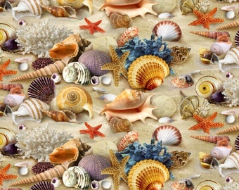 Tropical Seashells & Sand -  Landscape Medley Collection - Elizabeth's Studio 278-SAND (sold by the 1/2 yard)