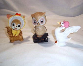 Lot of 3 Vintage Ceramic Figurines, Including Weather Owl, Bone China Duck and Easter Bunny in Hat