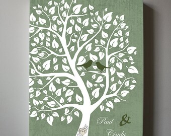 Custom Wedding Tree Canvas Wall Art, Personalized Family Tree , Couples Tree, Anniversary Gift, Wedding Gift, Birthday gift