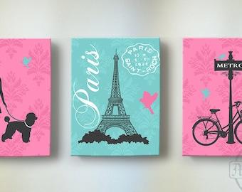 Paris  Girl Room Decor Set of 3 Canvas Art, Baby Nursery Decor, Eiffel Tower Pink Poodle Wall Art,