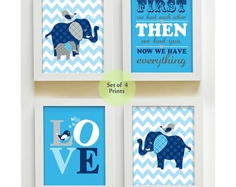 Elephant Nursery Art - Navy Blue Gray Chevron Wall Art, Baby Boy Room Nursery Print, First We Had You - Nursery Decor Quote