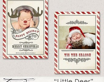 ON SALE Christmas Card Template, 5x7in Photoshop Template, printable photo card,vintage Little Deer