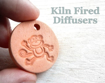 Boy Girl Essential oil diffuser necklace, Organic Baby Care, Monkey Small Terracotta Clay Pendant Kids Jewelry Gift, Personalized Cord