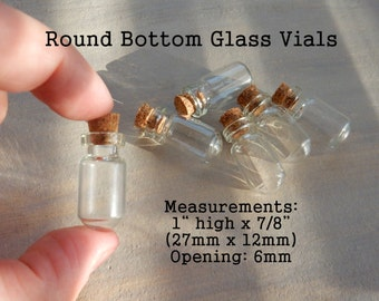 Round Bottom Tiny Small Glass Vial Empty Terrarium Bottles w Cork Stopper Wholesale Clear White Jar DIY Necklace Pendant Making Craft Supply