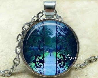 Blue gate at twilight art pendant, blue garden necklace, blue evening pendant, summer midnight pendant, twilight pendant  Pendant #SP124P