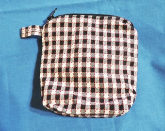 Large Lined Black Check Coin / Change Purse, Cigarette Case w/ Zipper Closure, Recreated by Carolyn, made from Upcycled/Recycled Materials