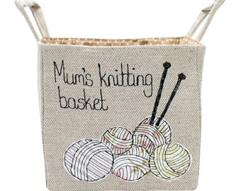 Knitting basket, storage basket, wool basket, yarn holder, crochet basket, craft organizer, Mothers Day, Hygge, storage bin