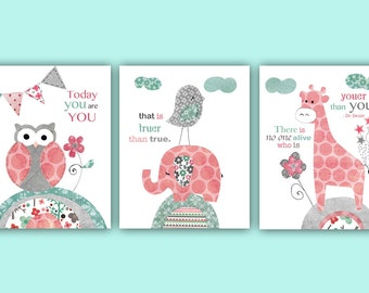 Dr Seuss - Nursery decor, girl Nursery art, Nursery prints, kids room wall art, quote,  Pink grey teal - your than you Dr Seuss quote