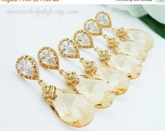 SALE 15% OFF SET of 8 Bridesmaid Gift Wedding Jewelry Bridal Jewelry Champagne Earrings Golden Shadow Swarovski Crystal Tear Drop Earrings