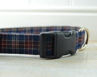 Blue Plaid Dog Collars, Fabric Dog Collars, Adjustable Dog Collars, Pet Accessories, Dog Clothing