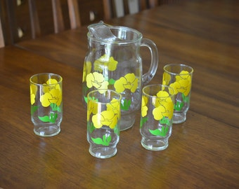 Mid Century Modern Anchor Hocking Foxy Flowers Glass Pitcher & 4 Glasses Set