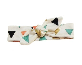 ORGANIC Baby Knotted Headband in Multi PRISM TRIANGLES - A Modern Gift Idea