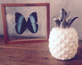 Silver white Pineapple home decor-excotic beach decoration-coastal tropical interior