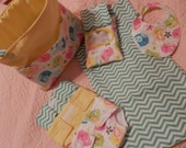 "Bitty Baby (or any 15"" doll) Handmade Diaper Bag Set - Diapers, Bib, Wipes Case w/ Wipes, Changing Pad"