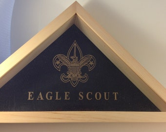 Unfinished 3 x 5 Etched Eagle Scout  Boy Scouts Flag Display Case