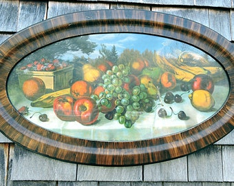 """Oval Frame Lithograph """"Choice American Fruits"""" Vintage Cottage"""