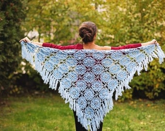 Triangle blue scarf shawl - mohair and acrylic unique handmade crochet