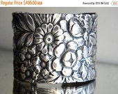 65% OFF SALE Antique Victorian Floral Flowers Solid Sterling Silver 925 .925 Gorham Wide Cuff Bracelet Art Nouveau Armlet,Spoon Jewlery,Spoo