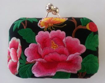 2-way Embroidered Clutch/Evening Bag - Chinese Peony