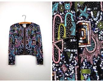 VTG Color Pop Sequin Jacket / 80's Pastel Embroidered Bolero / Geometric Sequined Beaded Evening Jacket XL