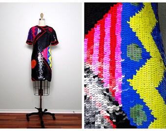 Vtg Color Pop Sequin Dress // Geometric Art Deco Trophy Dress // Crazy Sequined Party Dress