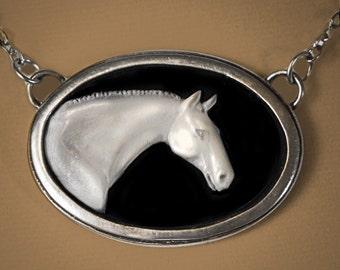 Horse Cameo, Thoroughbred Horse cameo necklace
