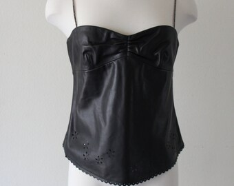 Vintage 1990s The Wrights Sexy Black Leather Top Bustier With Woven Straps And Back Zipper Floral Cut Out Patern