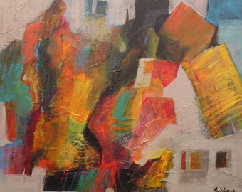 Walk the Narrow Path 012516 canvas, gallery wrapped, texture, reds, yellows, oranges, grays, warm colors, movement