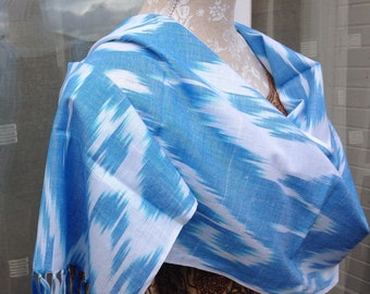 Early Morning Blue Sky with White Clouds Ikat natural cotton and silk elegant tasseled ikat scarf
