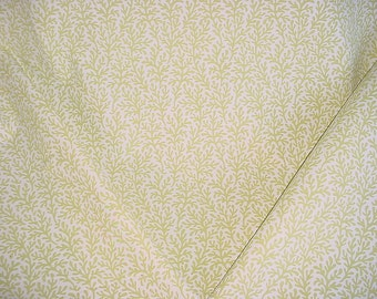 1-1/4 yards Beautiful F Schumacher 174462 Sea Coral in Chartreuse - Marine Theme Luxury Printed Linen Upholstery Fabric - Free Shipping