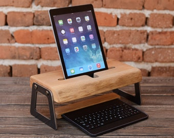 iPad docking station Wooden iPad stand Mother's day gift Office accessory Home decor iPad holder