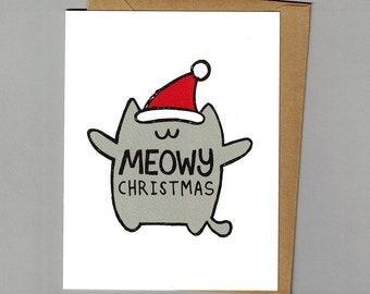 Meowy Christmas - Holiday Cat Pun Card