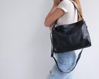 Soft Leather Hobo bag, Black Leather Bag, Leather Crossbody Bag, Woman Hobo Handbag, Black Bag, Hobo Bag, Leather Handbag, ORI Bag