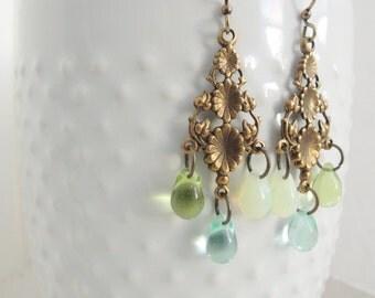 Summer Raindrops Earrings Czech Glass Teardrops Blue Green Opal Glass Drops Floral Vine Chandelier Earrings Vintage Bohemian Inspired